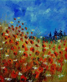 "Saatchi Online Artist: Pol Ledent; Oil, 2012, Painting ""red poppies and daisies 672121"""