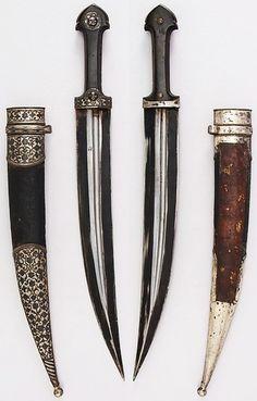 Caucasian (Cossack) qama / kindjal, 19th century, steel, leather, wood, silver…