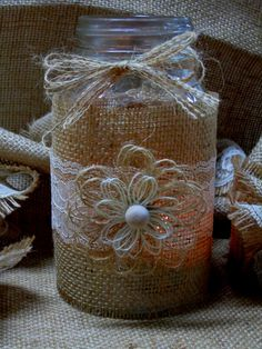 Burlap Ivory Lace Shabby Chic / Outdoor / by CustomFavorBoutique, $7.99