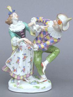 Meissen Model: 553        Description: Harlequin And Columbine   Modeled By: Johann Joachim Kaendler ca. 1748   Mark: 553       Painter Number: 79 - Hoffmann    Height: 9.1 in - 13.11 cm