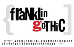 Franklin Gothic Font Specimen Sheet  This type caught my eye because of the red g. Also I used this type a lot when I was a kid. Only because it said Gothic, it was awesome because of Gotham. And batman.
