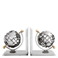 Book End Globe Set Of 2  Finish: 	nickel finish | brass finish Dimensions: 	18 x 12 x H. 20 cm Art.Nr.: 	105302