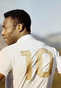 The King - Pelé wearing the classic number 10, for the Brazilian soccer team.