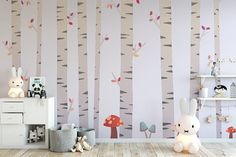 Fanciful Forest with Birch Trees and Mushrooms Peel and Stick