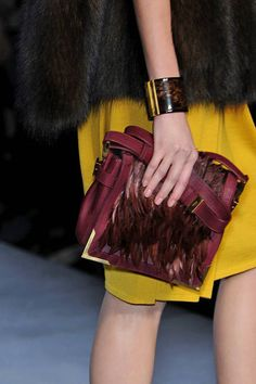 See every last detail from shoes and jewels, to bags and belts, from the Fendi Fall 2010 Ready-To-Wear show. Burgundy Bag, Swing Coats, Girls Wear, Fendi, Ready To Wear, Detail, Chic, Hand Bags, My Style