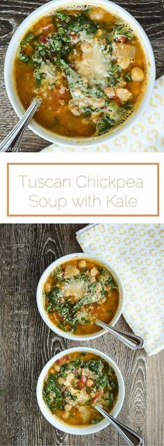 Tuscan Chickpea Soup with Kale Tuscan Chickpea Soup with Kale – comforting, healthy and delicious. Healthy Soup Recipes, Healthy Cooking, Vegetarian Recipes, Healthy Eating, Cooking Recipes, Vegetarian Lifestyle, Chickpea Recipes, Vegetarian Options, Milk Recipes