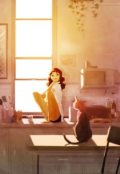 'Hey You!' by Pascal Campion I love this illustration, because it feels like a real world or you are apart of this moment. The sunlight--I can feel it. The warmth, the fur of the cat--all the curiosity is beautiful.
