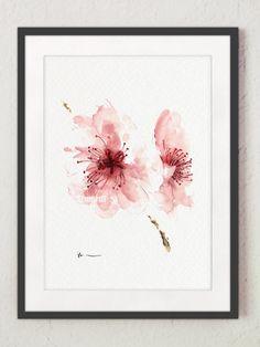 Cherry blossom watercolor art print Blossom door ColorWatercolor