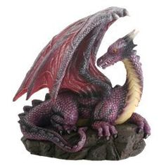 Purple Dragon On Rock Fantasy Figurine ** To view further for this item, visit the image link.