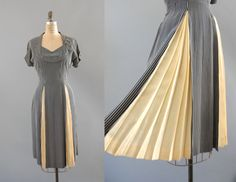 1940s Cream Pleats Dress