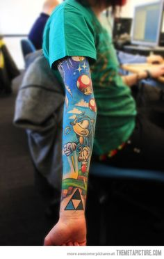 true gamer | I would never tattoo something so big on myself, but the colors are great!!