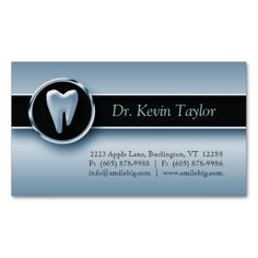 Dental Molar Business Card Blue Metallic. This is a fully customizable business card and available on several paper types for your needs. You can upload your own image or use the image as is. Just click this template to get started!