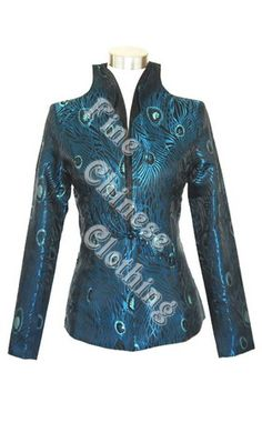 Big picture of Women's Chinese Jacket - Elegant Peacock, Click to Enlarge