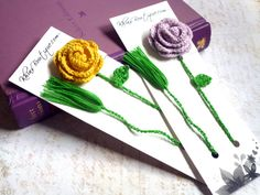 Crochet Bookmark  Yellow Rose by KhinsBoutique on Etsy, $13.00