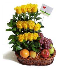 Fresh Fruit Arrangement with Roses. Fruit Flower Basket, Fruit Flowers, Edible Arrangements, Beautiful Flower Arrangements, Ikebana, Food Bouquet, Valentine Baskets, Fruit Decorations, Flowers Delivered