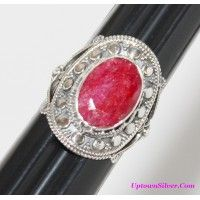 Artisan Jewelry Genuine India Red Ruby Stone 925 Sterling Silve..