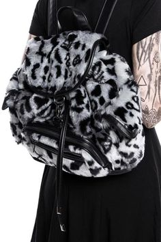 Sinergy Playdate Fur Backpack. Silky smooth faux fur with custom leopard   amp  sigil pattern c0d503819f563