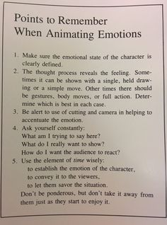 Points to remember when animating emotions