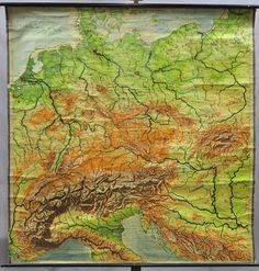 old school map germany with adjoining country ca1930 k0343