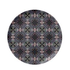 Black Pink and Green Mandala Fractal Pattern Plates $28.10