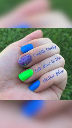 Neon Nails, Glitter Nails, Bald Hair, Nail File, Color Street, Electric Blue, Summer Nails, You Nailed It, Nail Colors