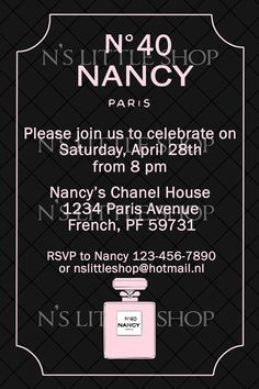 CHIC PARTY black invitation card / customize/ by nslittleshop, $10.00