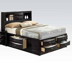 Shop Acme Furniture Ireland Black Queen Storage Bed with great price, The Classy Home Furniture has the best selection of Beds to choose from Full Bed With Storage, Storage Bed Queen, Bed Storage, Storage Headboard, Drawer Storage, King Size Storage Bed, Bookcase Headboard Queen, Headboard With Shelves, Bookcase Bed