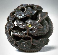 Dragon in clouds netsuke from the Asian Art Museum