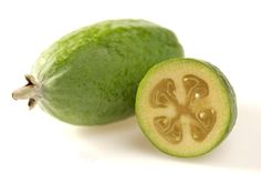 Read The Food Forest fact sheet on Feijoas (also known as Pineapple Guavas or Guavasteens). Includes recipes for Feijoa Jelly, Feijoa Chutney, Feijoa Cake, Feijoa Ginger Sponge Pudding and Feijoa And Lime Muffins. Green Fruit, Fruit And Veg, Fruits And Vegetables, Ripe Fruit, Pineapple Guava, Pineapple Benefits, Brazilian Fruit, Weird Fruit, Acerola