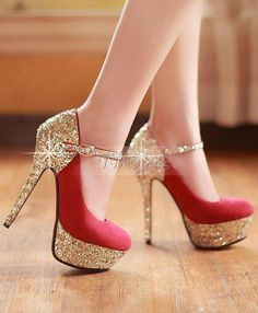 Fashion All-matched Stiletto Heels Closed-toe Women Prom Shoes. I would love these more if they were not red and gold! Stilettos, Stiletto Heels, High Heels, Pumps, Glitter Heels, Gold Heels, Red Glitter, Pretty Shoes, Beautiful Shoes