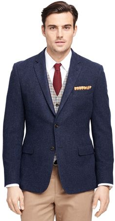 $448, Navy Wool Blazer: Brooks Brothers Milano Fit Two Button Wool Sport Coat. Sold by Brooks Brothers. Click for more info: https://lookastic.com/men/shop_items/297835/redirect