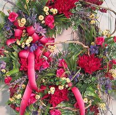 Beautiful XXL Door Wreath Spider Mums Tea Roses by LadybugWreaths, $219.97