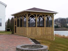 Lakeside Gazebo with Screening by Chicago Area Gazebo Builder - Design Ideas - Archadeck Large Gazebo, Screened Gazebo, Hot Tub Gazebo, Garage Pergola, Pergola Canopy, Covered Pergola, Pergola Shade, Diy Pergola, Pergola Cover
