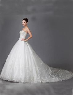 Tbdress.com offers high quality  A-Line Strapless Appliques Cathedral Train Wedding Dress Latest Wedding Dresses unit price of $ 405.99.