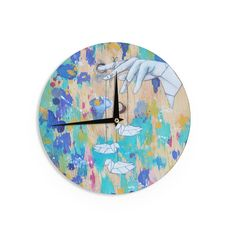 Kess InHouseKira Crees 'Origami Strings' Wall Clock (Origami Strings), Green, Size 12 (Wood)