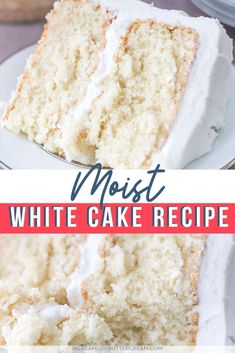 Moist White CakeThis super moist white cake recipe from scratch is the best white cake I've ever had. It's made with sour cream and has a deliciously soft texture. No more looking around for a white cake that's actually moist. It's the perfect recip Almond Wedding Cakes, Wedding Cake Flavors, Wedding Cake Recipes, Wedding Cake Icing, Wedding Cake Cookies, Homemade White Cakes, Homemade Cake Recipes, White Almond Cakes, Cake Recipes From Scratch
