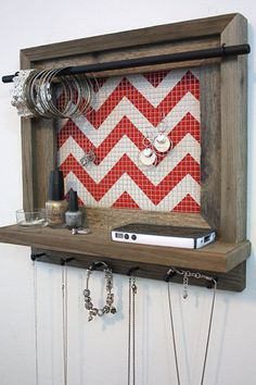 Barnwood Jewelry Shelf 14 x 14 - Jewelry Organizer Chevron Pattern In Red And White - Black Bar - Jewelry Holder:
