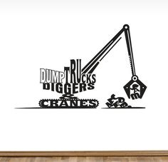 Personalized Dump Trucks Diggers & Cranes Wall by TheCreepingTree, $38.00