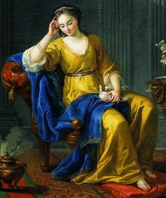 Joseph Marie VIEN (Montpellier, 1716 - Paris, 1809) La douce Mélancolie (détail), 1758, huile sur toile. Inv : 2002 2 1. Exposée, salon blanc. © Musée des Augustins, Toulouse, photographie Daniel MARTIN.