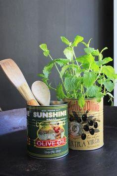 Set of 2 Vintage Style 'Olive Oil' Storage Tins