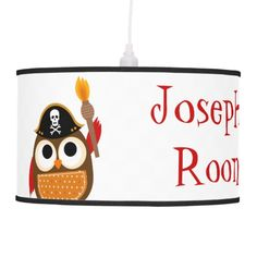 Personalized Owl Pirate Baby's Room Custom Lamp