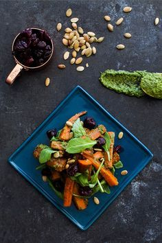 Roasted Carrots With Kale-Pumpkin Seed Pesto #carrots #recipe #healthy