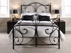 Firenze Black Metal Bed with Crystal Knobs | Metal Beds from FADS