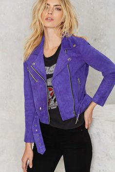 Nasty Gal Electric Youth Suede Moto Jacket - Jackets + Coats