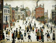 "Fabulous LS Lowry Print entitled ""The Village Square"" LOWRY, Laurence Stephen. Born in Rusholme, a suburb of Manchester, he lived all his life in and around that area. Salford, Framed Art Prints, Poster Prints, Glasgow Museum, St Just, English Artists, British Artists, Spencer, Square Art"