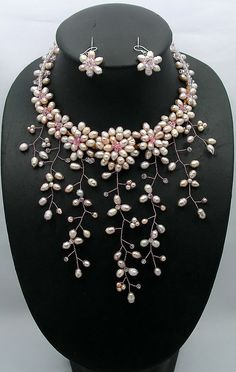 bridesmaid gift Bead NecklaceBeaded JewelryPearl by audreyjewelry, $45.00