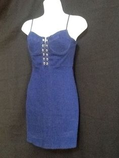 MISSGUIDED, Stretch Blue Jean Dress size 6 #Missguided #Corset #Casual