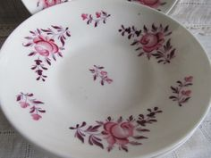 Antique Set Of 5 Pink Rose 1800's, Rare Scalloped Victorian Hand Painted Pink Rose Dessert Or Bread Plates