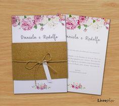 Convite Casamento Rustico Floral 2