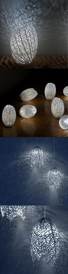 The Hyphae lamp is a series of organic table lamps based on how veins form in leaves. Each lamp is a completely one-of-a-kind design 3D-printed in nylon plastic. The lamps are lit by eco-friendly LED's and cast dramatic branching shadows on the wall and ceiling. You will receive a lamp similar to the ones featured in the photos but not identical as all are unique.